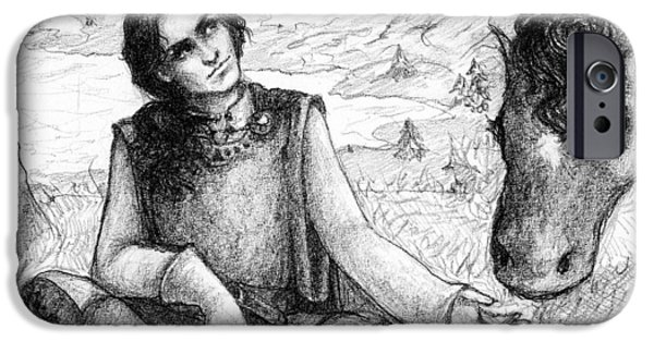 Contemplative Drawings iPhone Cases - Contemplation iPhone Case by Morgan Lees