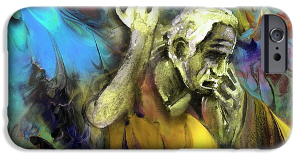 Zeus iPhone Cases - Contemplation Of Zeus iPhone Case by Miki De Goodaboom