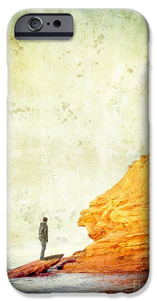 Cliff iPhone Cases - Contemplation Point iPhone Case by Edward Fielding