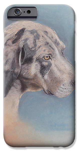 Puppy Pastels iPhone Cases - Contemplation iPhone Case by Theresa Stinnett