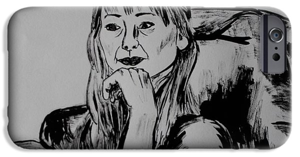 Contemplative Drawings iPhone Cases - Contemplative iPhone Case by Samantha  Doyle