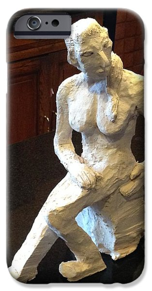 Feet Sculptures iPhone Cases - Contemplative Woman - Side-to-front View iPhone Case by Jennifer Chertow