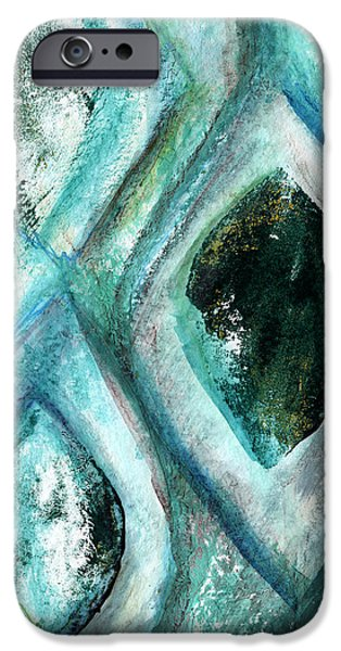 Texture iPhone Cases - Contemporary Abstract- Teal Drops iPhone Case by Linda Woods