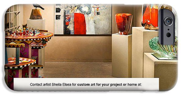 Gallery Owners Paintings iPhone Cases - Contemporary Art II iPhone Case by Sheila Elsea
