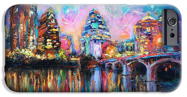Scenery iPhone Cases - Contemporary Downtown Austin Art painting Night Skyline Cityscape painting Texas iPhone Case by Svetlana Novikova