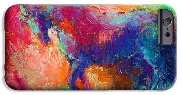Contemporary Abstract Drawings iPhone Cases - Contemporary vibrant horse painting iPhone Case by Svetlana Novikova