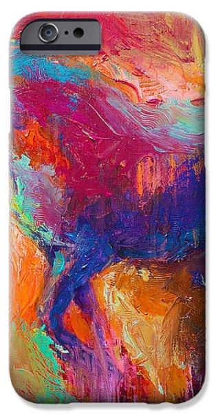 Contemporary vibrant horse painting iPhone Case by Svetlana Novikova