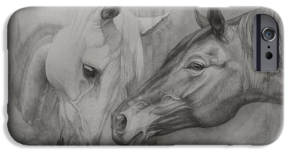 Horse Artist iPhone Cases - Conversation Ill iPhone Case by Silvana Gabudean