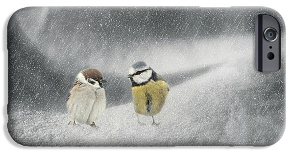Mural Mixed Media iPhone Cases - Conversation In The Snow iPhone Case by Heike Hultsch