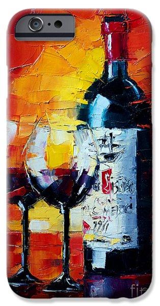 Wine Bottles iPhone Cases - Conviviality iPhone Case by Mona Edulesco