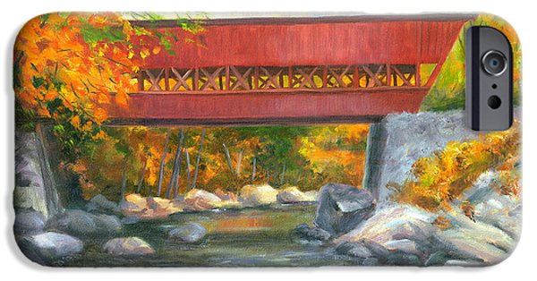 Covered Bridge Paintings iPhone Cases - Conway Covered Bridge #47 iPhone Case by Elaine Farmer