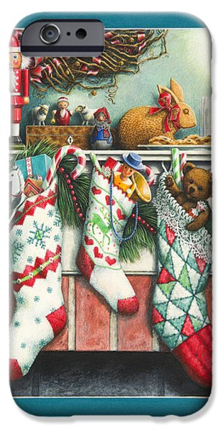 Christmas Eve Paintings iPhone Cases - Cookies For Santa iPhone Case by Lynn Bywaters