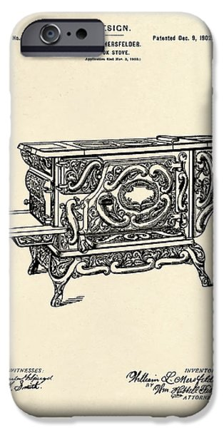Stove iPhone Cases - Cooking Stove Patent 1902 iPhone Case by Mark Rogan