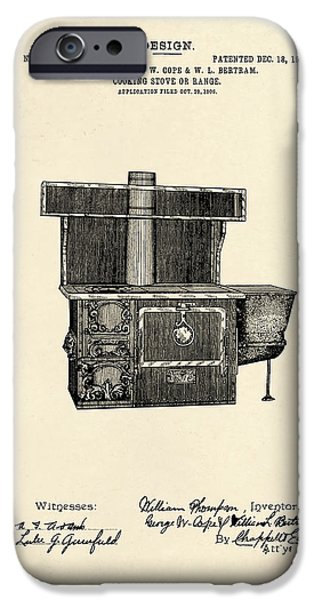 Stove iPhone Cases - Cooking Stove Patent 1906 iPhone Case by Mark Rogan