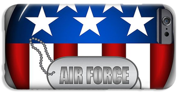 4th July Mixed Media iPhone Cases - Cool Air Force Insignia iPhone Case by Pamela Johnson