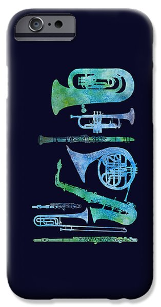 Trumpet Paintings iPhone Cases - Cool Blue Band iPhone Case by Jenny Armitage