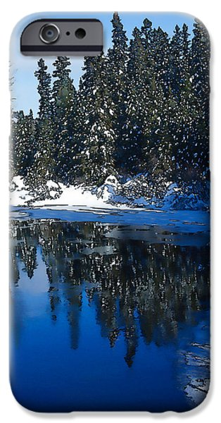 Snowbank iPhone Cases - Cool Blue Shadows - Riverbank Winter iPhone Case by Georgia Mizuleva