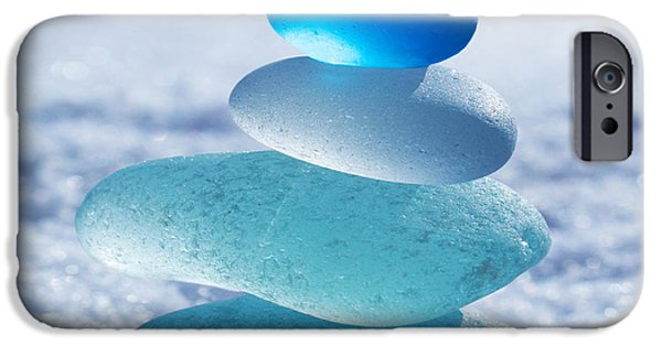 Beach Glass iPhone Cases - Cool Blues iPhone Case by Barbara McMahon