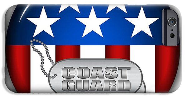 Recently Sold -  - 4th July iPhone Cases - Cool Coast Guard Insignia iPhone Case by Pamela Johnson