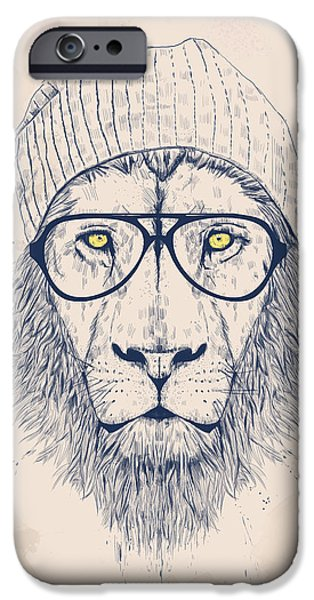 Animals Drawings iPhone Cases - Cool lion iPhone Case by Balazs Solti