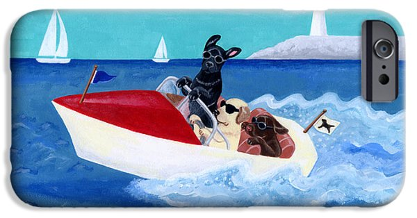 Recently Sold -  - Chocolate Lab iPhone Cases - Cool Motorboat Labradors iPhone Case by Naomi Ochiai