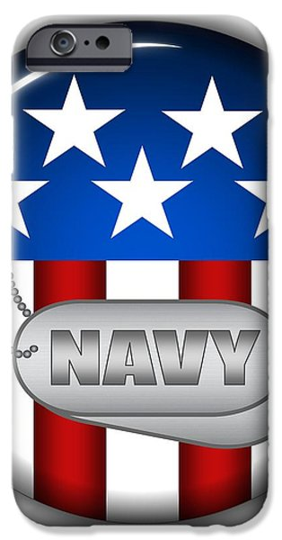 Cool Navy Insignia iPhone Case by Pamela Johnson