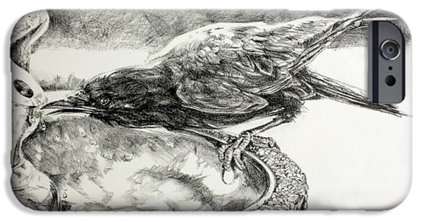 Crows Drawings iPhone Cases - Cool Sip iPhone Case by Derrick Higgins