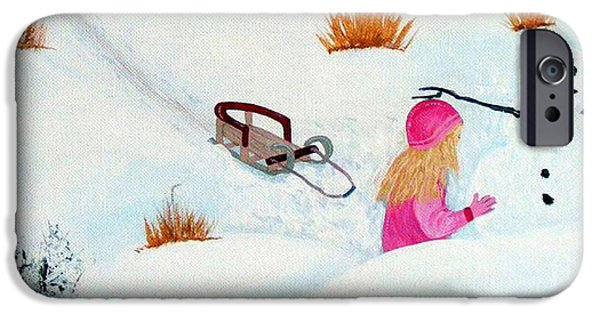 Mounds Paintings iPhone Cases - Cool  Winter Friend - Snowman - Fun iPhone Case by Barbara Griffin