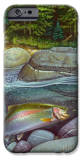 Coolwaters Rainbow Trout iPhone Case by Jon Q Wright