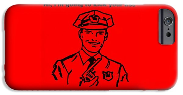 Police Art iPhone Cases - Cop Kicking Ass In Red iPhone Case by Rob Hans