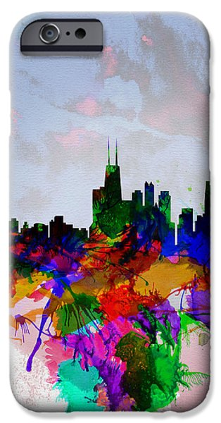 Denmark iPhone Cases - Copenhagen Watercolor Skyline iPhone Case by Naxart Studio