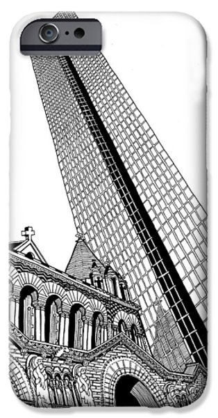 City. Boston Drawings iPhone Cases - Copley Square iPhone Case by Conor Plunkett
