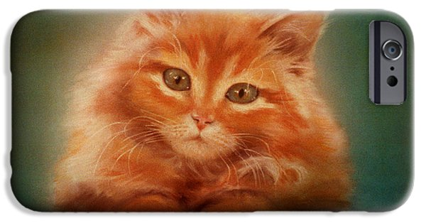 Orange Pastels iPhone Cases - Copper-colored Kitty iPhone Case by Evie Cook