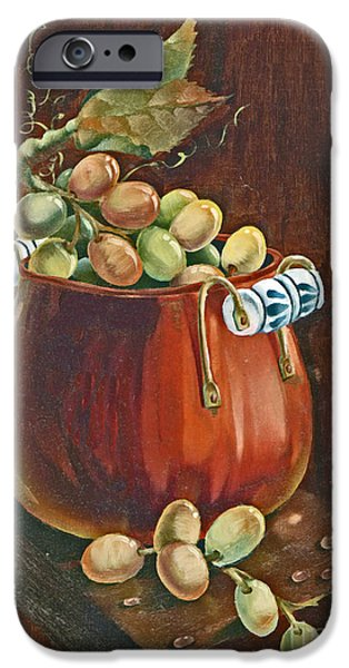 Old Plank Tables Paintings iPhone Cases - Copper Kettle of Grapes iPhone Case by Doreta Y Boyd