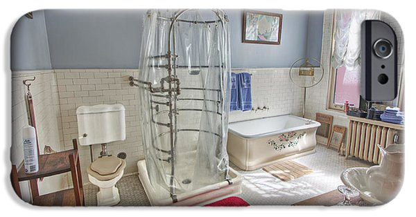 Shower Curtain iPhone Cases - Copper King Victorian Bathroom - Butte Montana iPhone Case by Daniel Hagerman