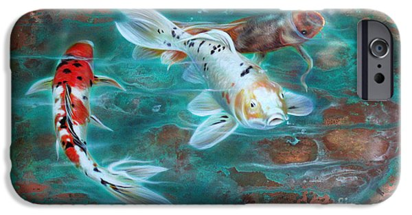 Fish Pond iPhone Cases - Copper Koi iPhone Case by Sandi Baker