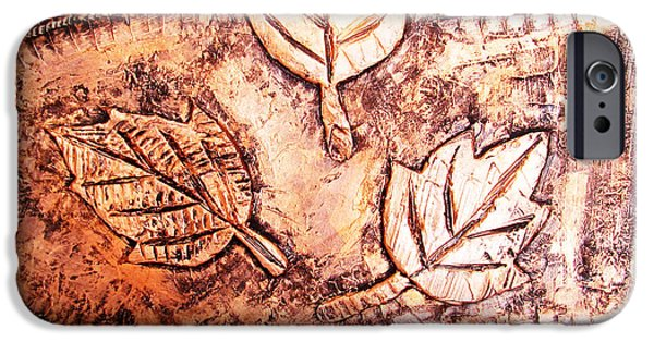 Abstract Reliefs iPhone Cases - Copper Leaves Embossed iPhone Case by Abhishek Das