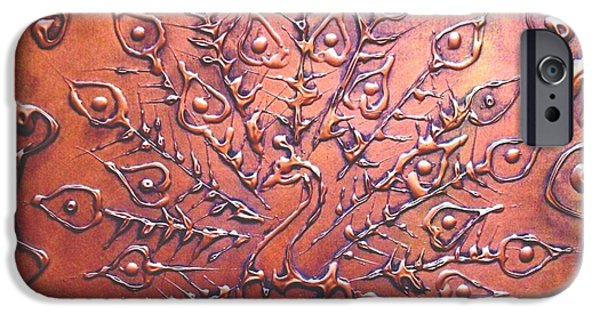 Birds Reliefs iPhone Cases - Copper Peacock iPhone Case by SophiaArt Gallery