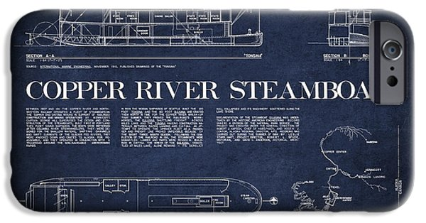 Steamboat iPhone Cases - Copper River Steamboats Blueprint iPhone Case by Aged Pixel