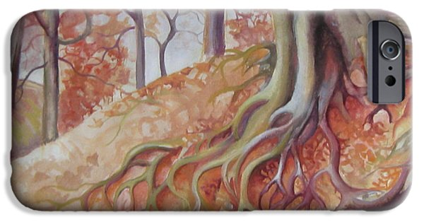 Tree Roots Paintings iPhone Cases - Copper rustle iPhone Case by Elena Oleniuc