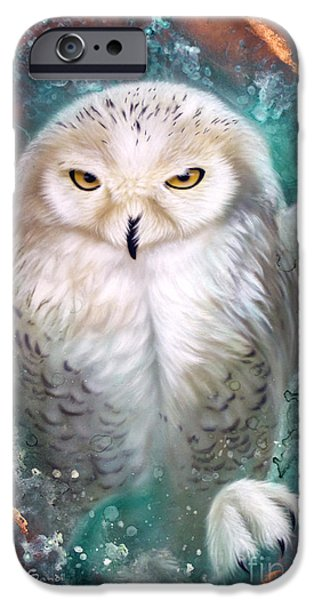 Snowy Owl iPhone Cases - Copper Snowy Owl iPhone Case by Sandi Baker