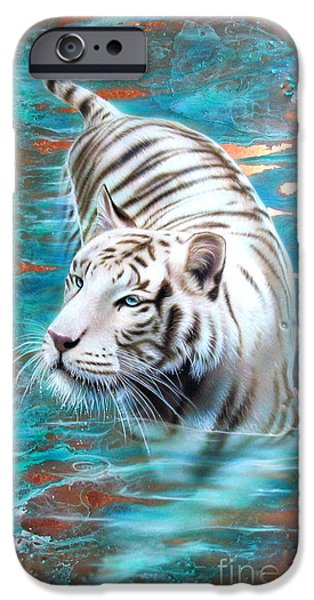 White Tiger iPhone Cases - Copper White Tiger iPhone Case by Sandi Baker
