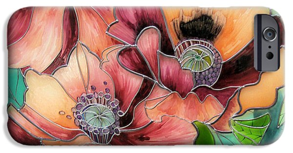 Florals Glass Art iPhone Cases - Coquelicot iPhone Case by Sharon Cox
