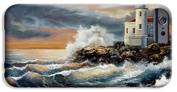 Park Scene Paintings iPhone Cases - Coquille River Lighthouse at HighTide iPhone Case by Gina Femrite