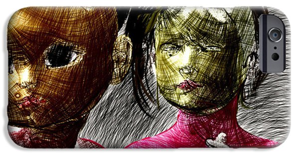 Thinking iPhone Cases - Cora and Coralette in a drawing iPhone Case by Kurt Heppke