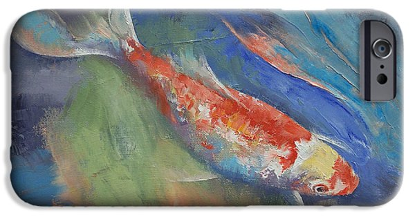 Butterfly Koi iPhone Cases - Coral and Moonstone iPhone Case by Michael Creese