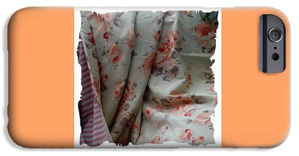 Sheets Tapestries - Textiles iPhone Cases - Coral Rose Quilt with Jagged Border iPhone Case by Barbara Griffin