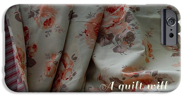 Sheets Tapestries - Textiles iPhone Cases - Coral Rose Quilt with Quote iPhone Case by Barbara Griffin