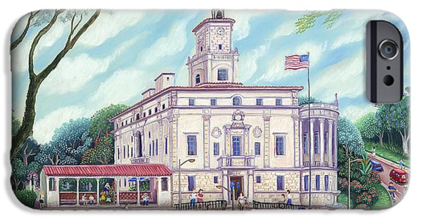 Park Scene Paintings iPhone Cases - Corale Gables City Hall iPhone Case by Colette Raker