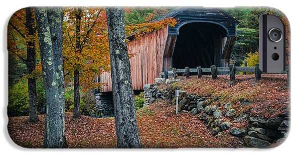 Covered Bridge iPhone Cases - Corbin Covered Bridge Newport New Hampshire iPhone Case by Edward Fielding